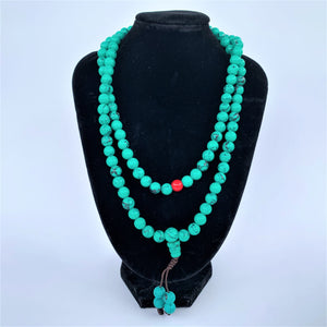 prayer beads mala turquoise on bust