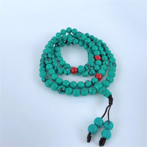 prayer beads mala turquoise coiled