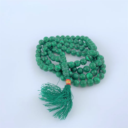 prayer beads mala malachite 108 beads coiled