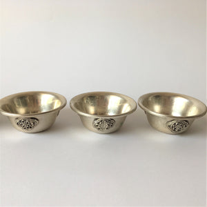 Engraved metal offering bowl 3 bowls