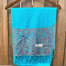 Load image into Gallery viewer, shawl pashmina blue folded