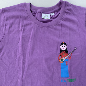 children's tshirt purple with Tibetan musician design close up
