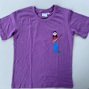 children's tshirt purple with Tibetan musician design top