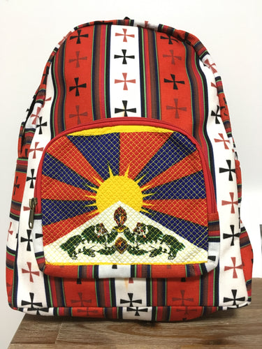 Red & White Tibetan Flag Backpack front
