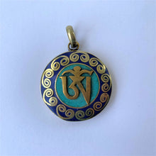 Load image into Gallery viewer, pendant round with OM syllable with lapis lazuli & turquoise