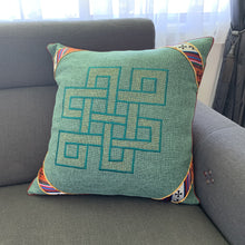 Load image into Gallery viewer, Cushion cover jute endless knot design large lounge example