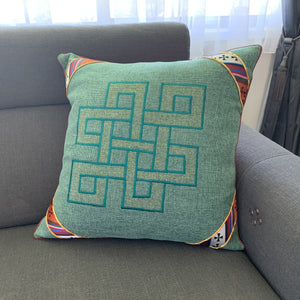 Cushion cover jute endless knot design large lounge example