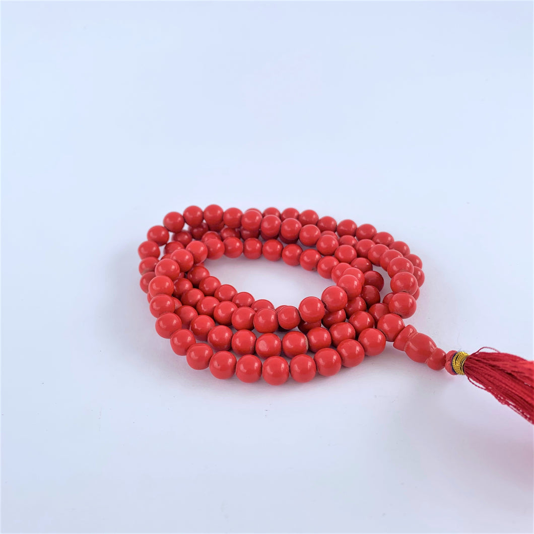 prayer beads mala red coral coiled