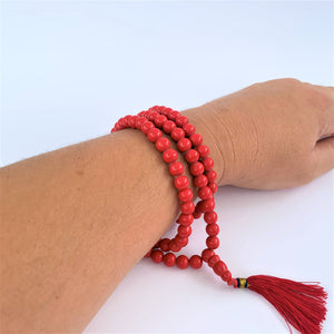 prayer beads mala red coral scale