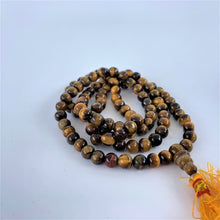 Load image into Gallery viewer, prayer beads mala tiger eye stone 108 beads coiled