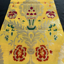 Load image into Gallery viewer, table runner yellow brocade norbu close up