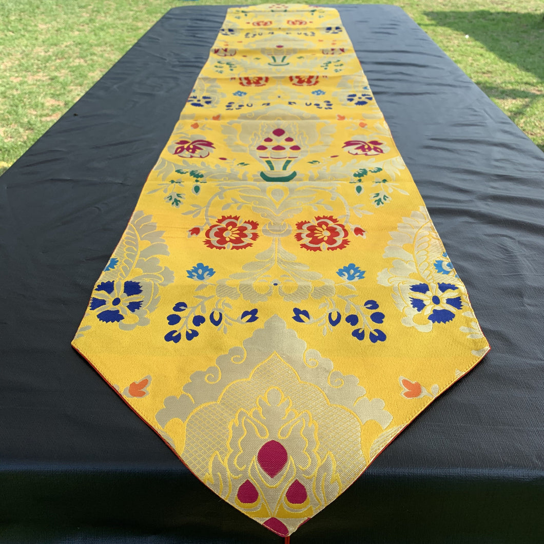 table runner yellow brocade norbu long