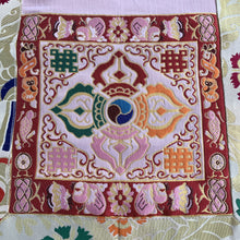 Load image into Gallery viewer, table runner white brocade double vajra close up
