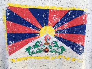 Tibetan Flag White Flecked T-Shirt close up