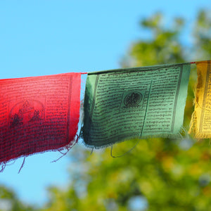 Large Tibetan Prayer Flags hanging