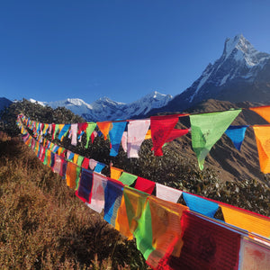 Extra large tibetan prayer flags in the mountains