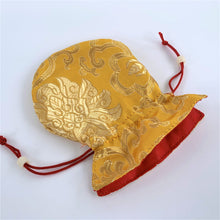 Load image into Gallery viewer, yellow brocade drawstring bag