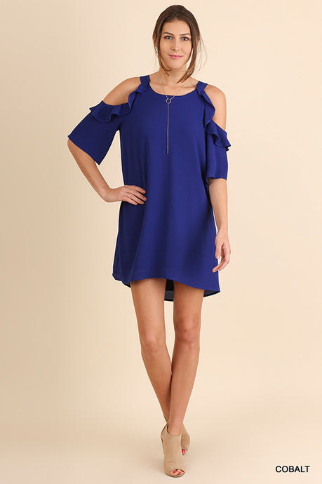 Cold Shoulder Dress with Ruffle Details - Cobalt