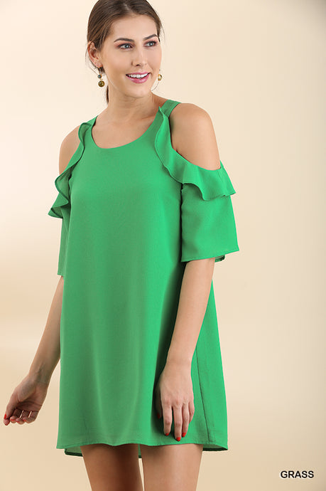 Cold Shoulder Dress with Ruffle Details - Grass