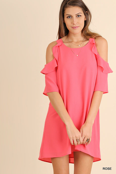 Cold Shoulder Dress with Ruffle Details - Rose