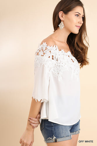 Lace Appliqué Off Shoulder Top with Sleeve Detail - Sage or White
