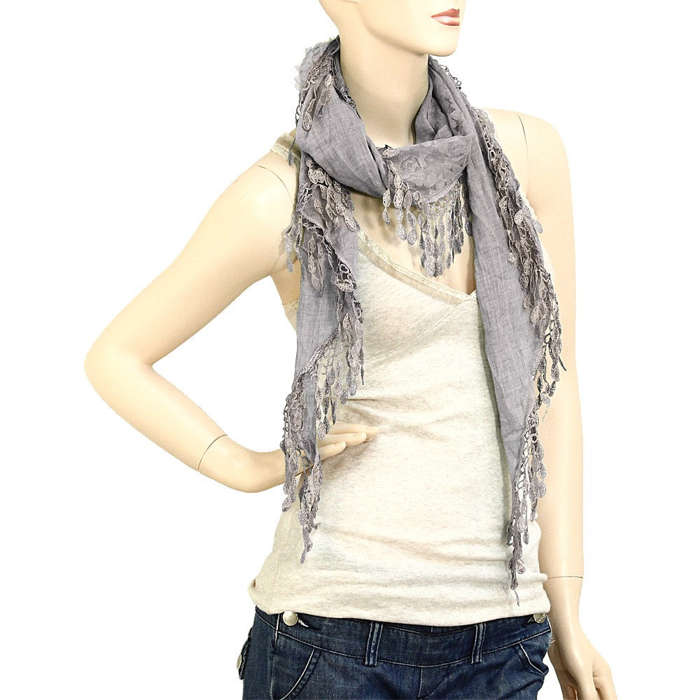 Lace Scarf - Gray