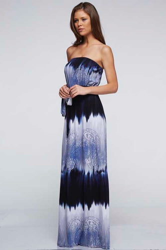 Dip-dyed Paisley Print Strapless Maxi
