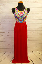multi-colored maxi dress, coral skirt, tank maxi dress