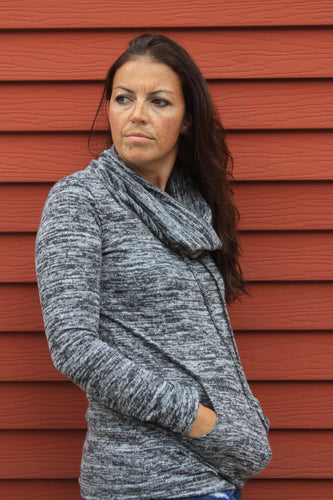 Funnel Neck Pullover with Kangaroo Pocket