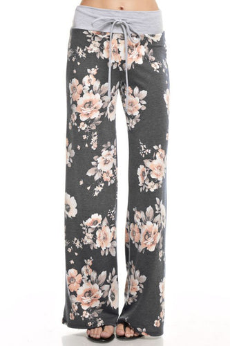 Floral French Terry Casual Pants