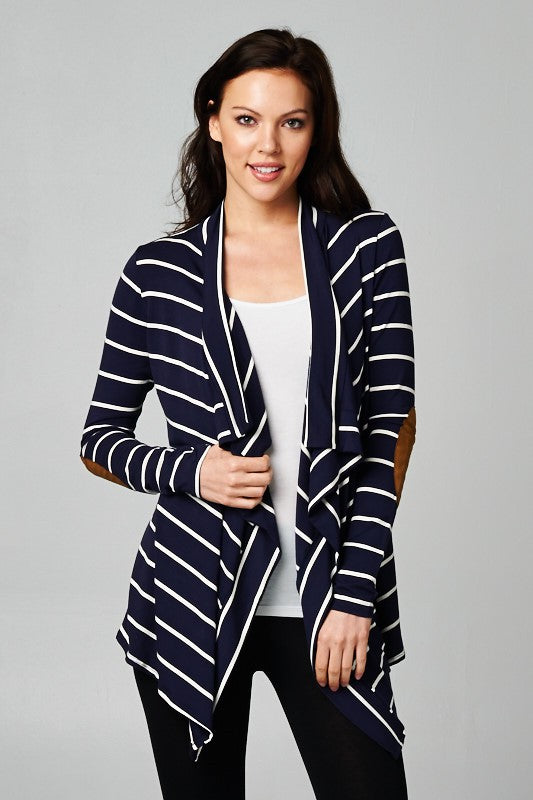 Striped Cardigan with Elbow Patches - Navy