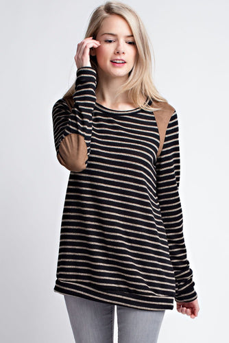 Long Sleeve charcoal striped light sweater