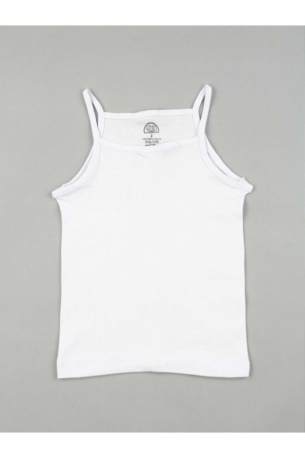 Girl's Thin Strap White Sleeveless Undershirt