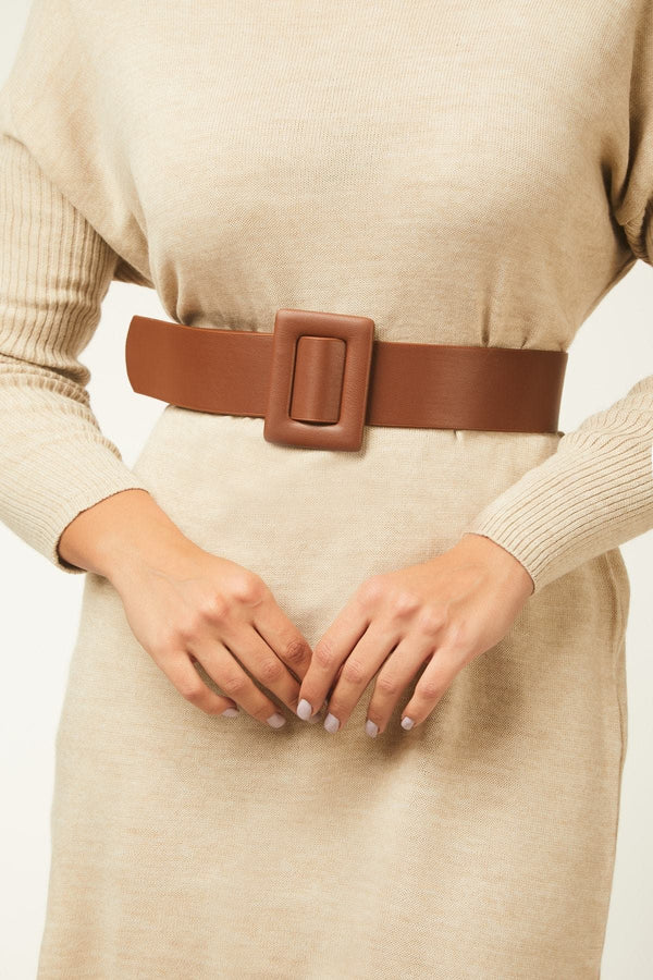 Women's Square Buckle Thick Belt