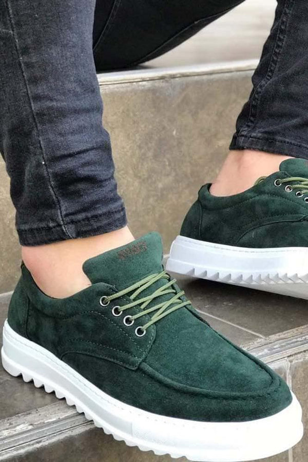 Men's Green Suede Casual Shoes