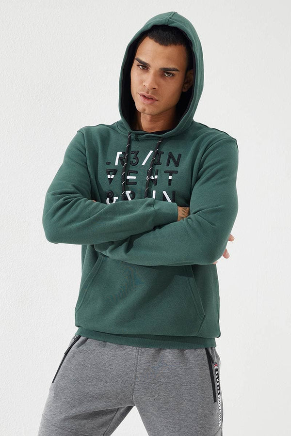 Men's Hooded Embroidered Pocket Green Sweatshirt