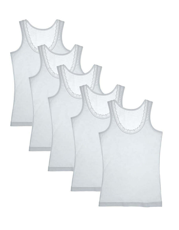 Girl's White Cotton Camisole - 5 Pieces