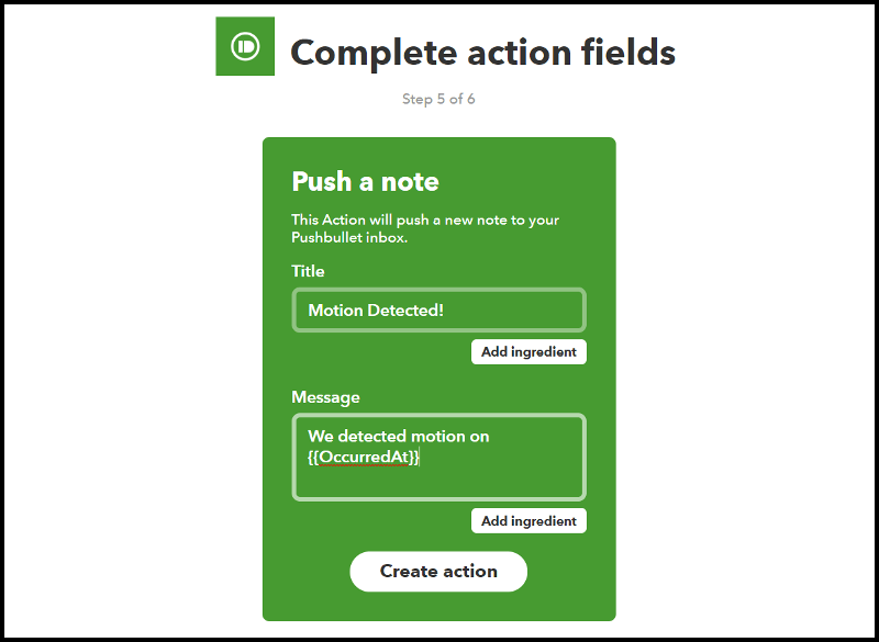 IFTTT Pushbullet Action