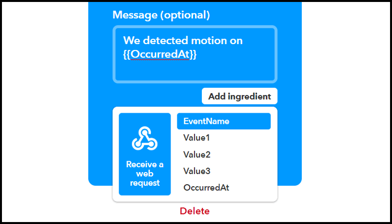 IFTTT Webhook Values