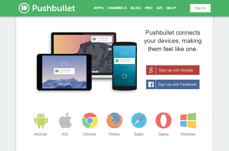 Pushbullet Homepage