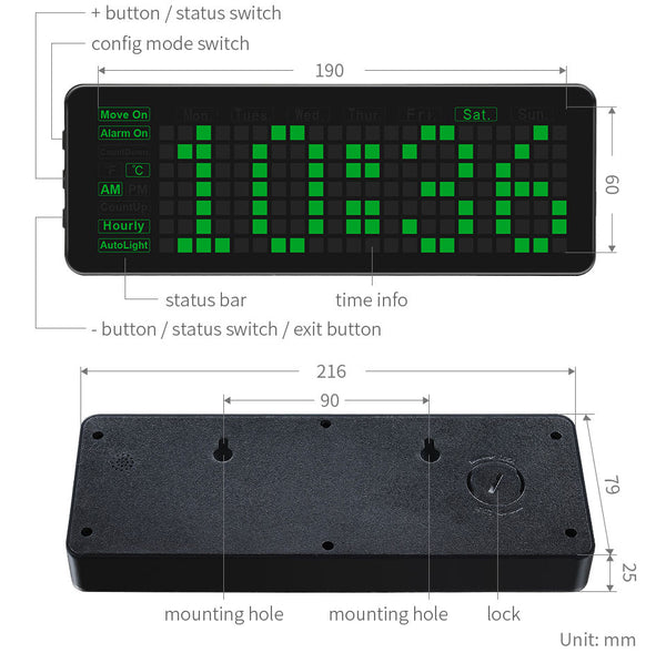 Pico Clock features detailed
