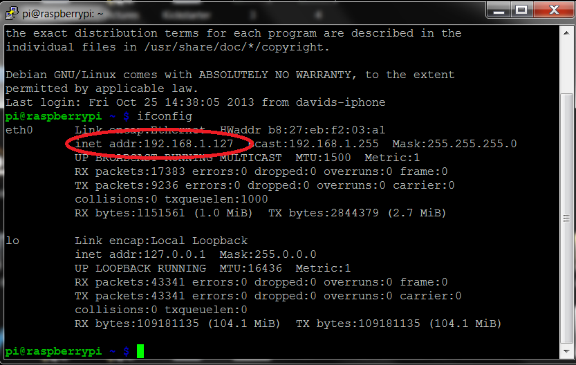 Remotely Accessing the Raspberry Pi via SSH - Console Mode