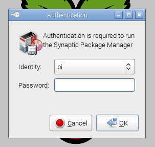 Synaptic Password Prompt
