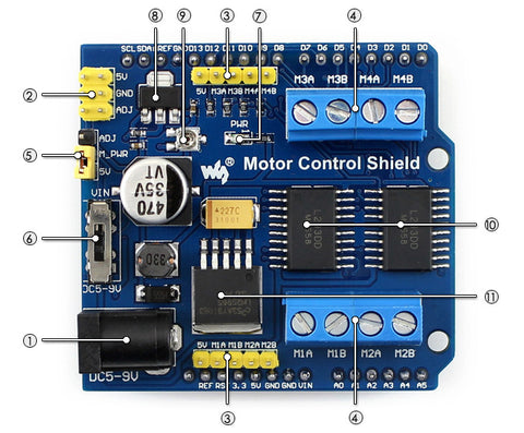 Arduino Motor Shield features