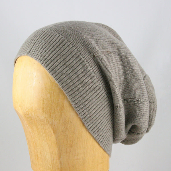 Merino Wool Slouchy Hat (Light Grey)