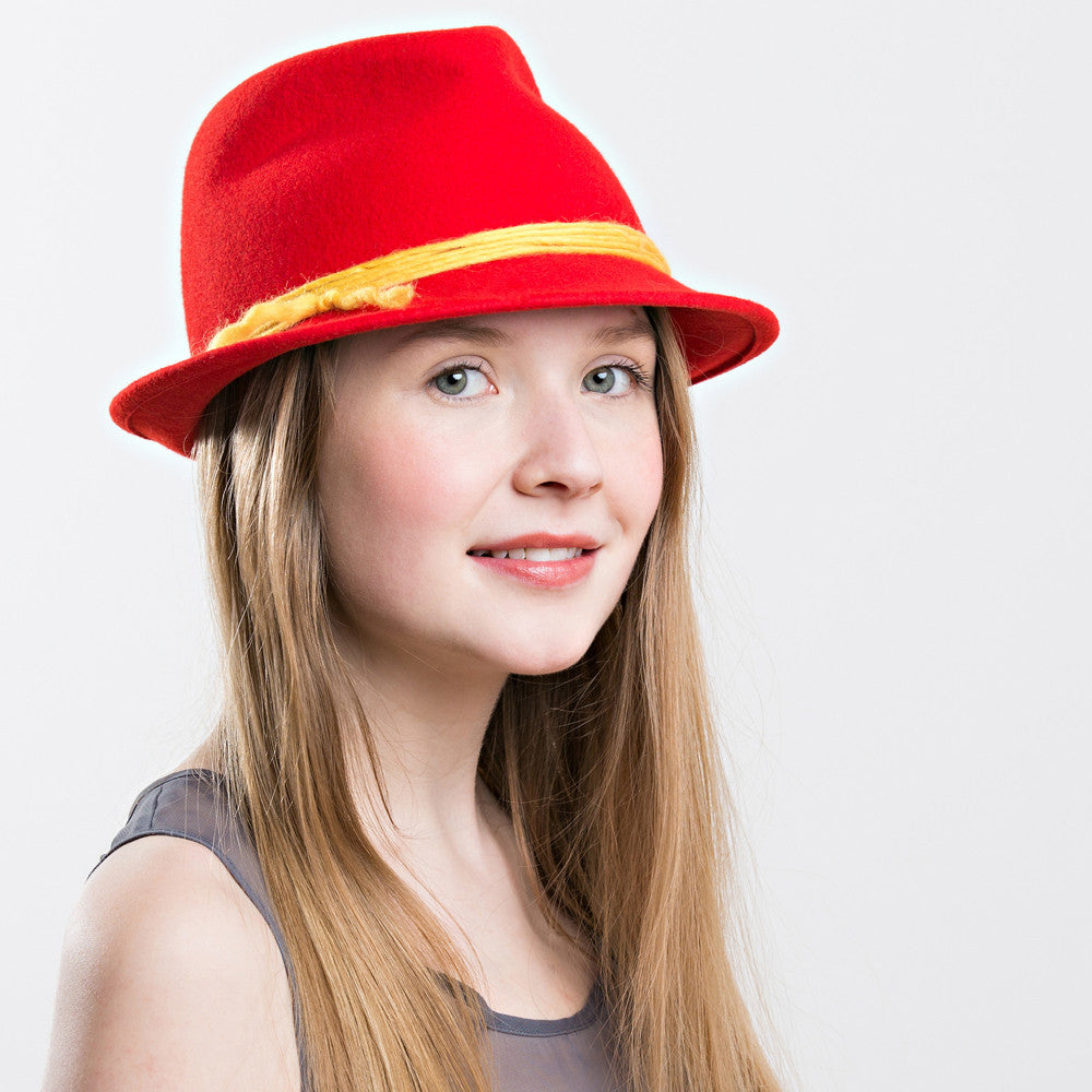 womens red wool fedora trilby