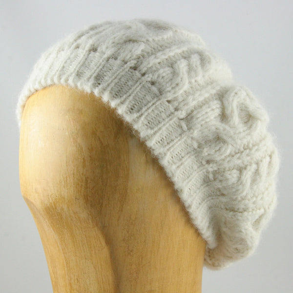 Womens Alpaca Wool Beret White