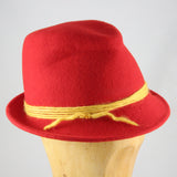 Womens Fedora Red Felt