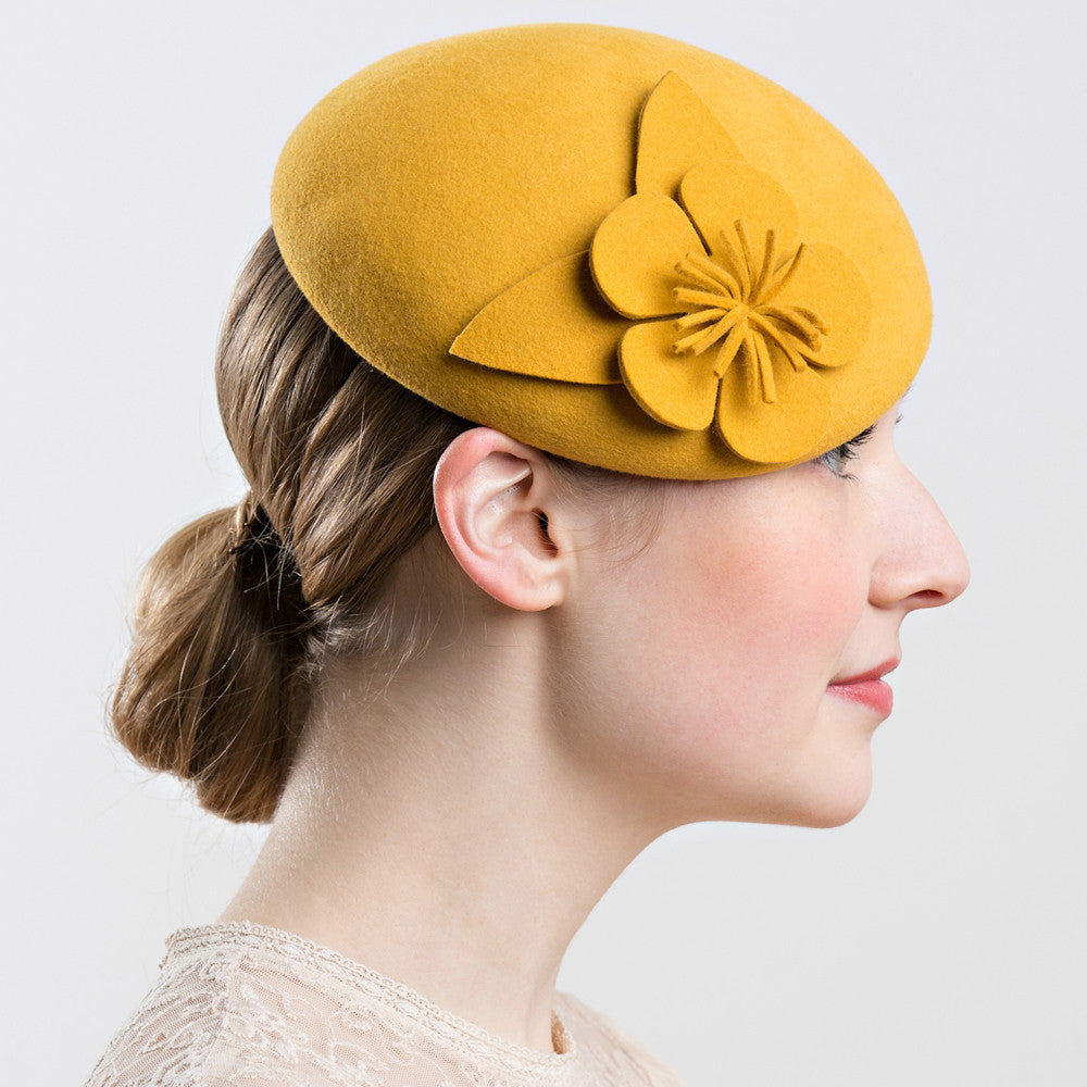 Womens yellow pillbox hat with flower- Shappos.com
