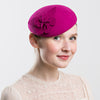 Felt Pillbox Hat with Flower (Pink)